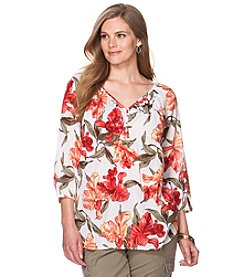 Chaps® Plus Size Tropical Peasant Top
