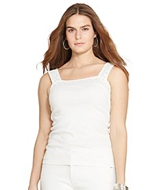 Lauren Ralph Lauren® Plus Size Lace-Trimmed Cotton Tank