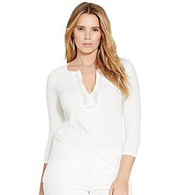 Lauren Ralph Lauren® Plus Size Lace-Trimmed Cotton Top