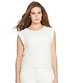 Lauren Ralph Lauren® Plus Size Crocheted Cap-Sleeve Sweater