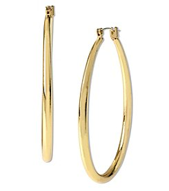 Samara® Medium Goldtone Teardrop Shaped Hoop Earrings