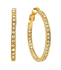 Samara® Simulated Crystal Inside Out Goldtone Hoop Earrings
