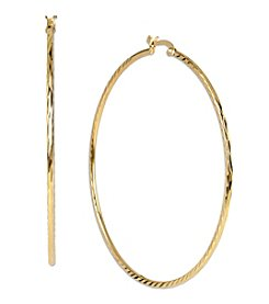 Samara® Large Goldtone Textured Hoop Earrings