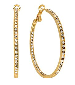 Samara® Medium Crystal Inside Out Goldtone Hoop Earrings