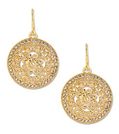 Samara® Goldtone Filigree Round Drop Earrings