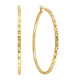 Samara® Medium Goldtone Diamond Cut Hoop Earrings
