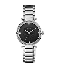 GUESS Women's Silvertone Modern Classic Watch With Diamonds