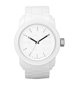 Diesel Men's White And Silvertone Double Down S44 Watch