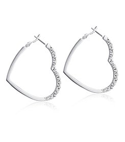 GUESS Silvertone Simulated Crystal Accent Heart Hoop Earrings