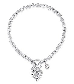 GUESS Silvertone G Logo Simulated Crystal Accent Toggle Necklace