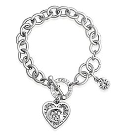 GUESS Silvertone G Logo Simulated Crystal Accent Toggle Bracelet