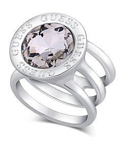 GUESS Silvertone Simulated Crystal Logo Ring