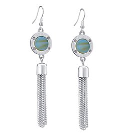 GUESS Silvertone Simulated Crystal Accent Light Denim Tassle Drop Earrings