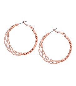 GUESS Rose Goldtone Braided Hoop Earrings