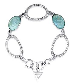 GUESS Silvertone Simulated Crystal Accent Light Denim Bracelet