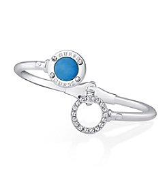 GUESS Silvertone Crystal Accent Light Denim Hinged Bracelet