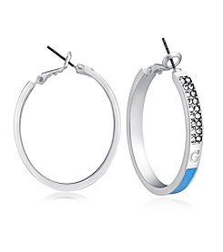 GUESS Silvertone Light Denim Hoop Earrings