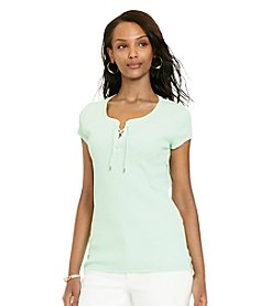Lauren Jeans Co.® Lace-Up Ribbed Cotton Tee