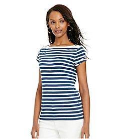 Lauren Jeans Co.® Zip-Shoulder Striped Tee