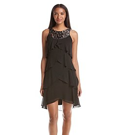 S.L. Fashions Tiered Chiffon Dress