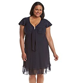 R&M Richards® Plus Size Short Sleeve V-Neck Dress
