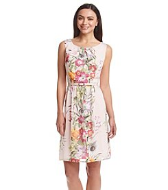 Connected® Floral Panel Short Chiffon Dress