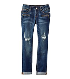 Vigoss® Girls' 7-16 Distressed Zipper Pocket Skinny Jeans