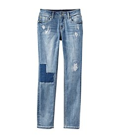 Vigoss® Girls' 7-16 Distressed Patchwork Skinny Jeans