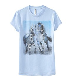 Beautees Girls' 7-16 Short Sleeve Wild Horses Tee