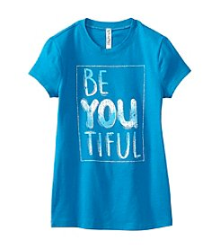 Beautees Girls' 7-16 Short Sleeve Be-You-Tiful Tee