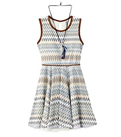 Beautees Girls' 7-16 Boho Zig-Zag Fit And Flare Dress With Necklace