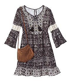 Beautees Girls' 7-16 Printed Peasant Dress With Fringe Bag
