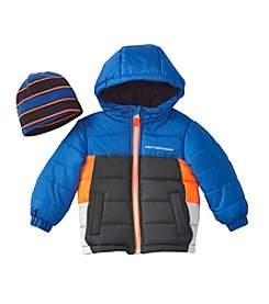Weather Tamer® Baby Boys Colorblock Puffer With Hat