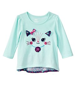 Mix & Match Baby Girls' Long Sleeve Cat Bow Back Tee