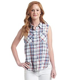 Hippie Laundry Plaid Acid Wash Top