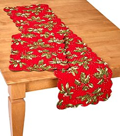 LivingQuarters Holly Berry Quilted Table Linens