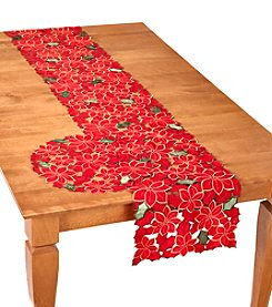 LivingQuarters Poinsettia Cutout Table Linens