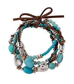 Relativity® Four Row Beaded Turquoise With Cord Stretch Bracelet