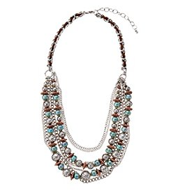 Relativity® Layered Turquoise Beaded And Chain Frontal Necklace