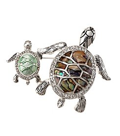 Napier® Boxed Silvertone And Green Turtle Pin
