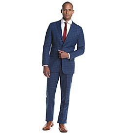 English Laundry® Men's Navy and Yellow Checked 2-Piece Suit