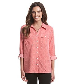 Notations® Printed Button Front Shirt
