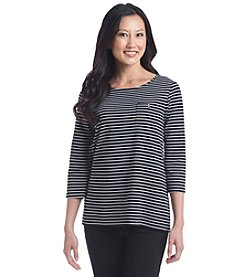 Studio Works® Petites' Stripe Zip Back Top