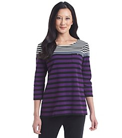 Studio Works® Petites' Stripe Zip Back Tee