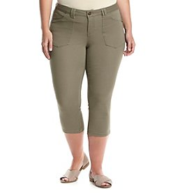 Democracy Plus Size Vintage Wash Stretch Utility Capri Pants