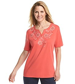 Alfred Dunner® Petites' Cozumel Floral Yoke Knit Tee