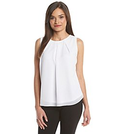 Notations® Petites' Printed Lace Trim Tank