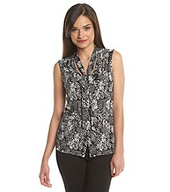 Notations® Petites' Printed Tie Neck Top
