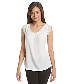 Notations® Petites' Solid Crochet Trim Top