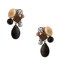 Erica Lyons®Tri Tone Welcome To The Jungle Drop Clip Earrings
